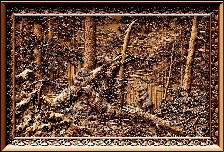 Bears In Wood 3D Relief Model In STL Format CNC Router Carving Engraving Artcam Aspire M107
