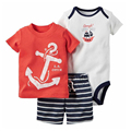 Hot sale striped Baby clothes cotton Baby Clothing Set rompers boys summer style Sets 3 pieces/set=1 set body suit + 1 romper