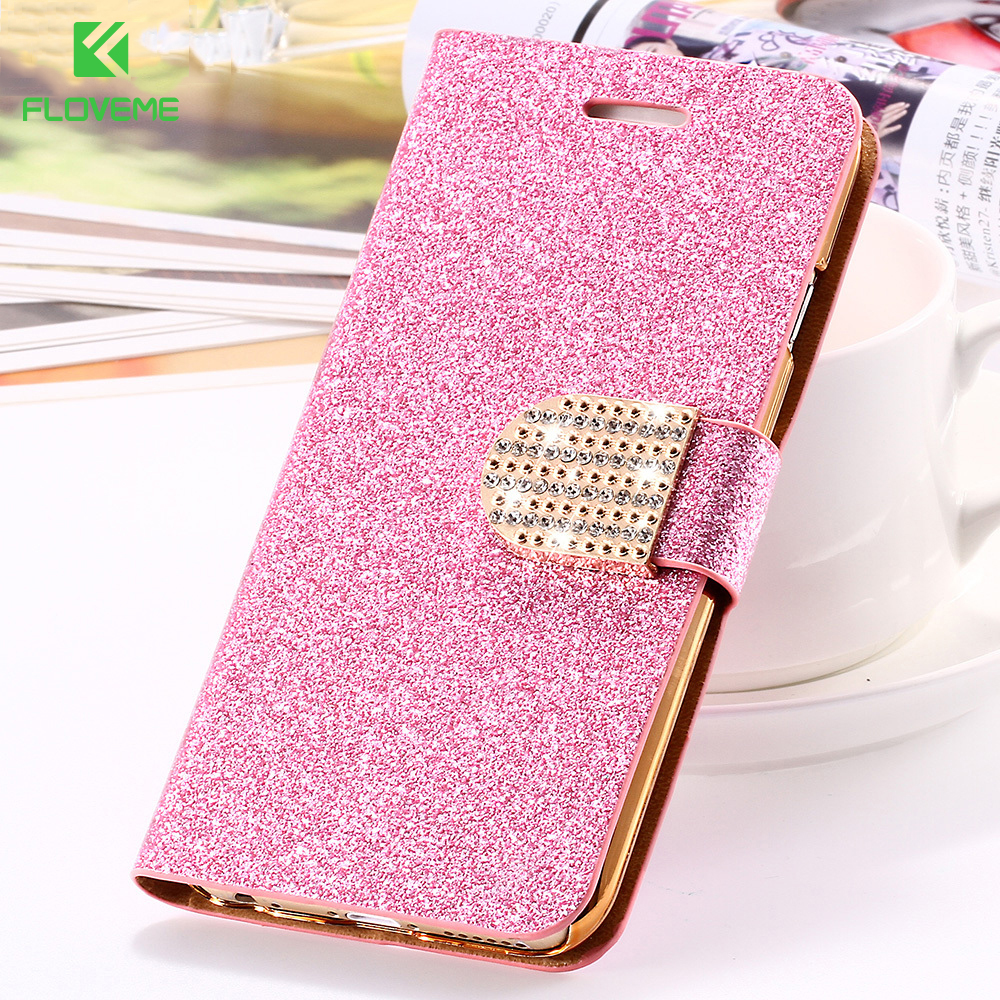 For iPhone 6 6S Plus 7 Plus Cover Glitter <font><b>Bling</b></font> Crystal Diamond Leather Wallet <font><b>Case</b></font> For <font><b>Samsung</b></font> Galaxy S6 Edge Plus <font><b>S7</b></font> Edge Bags image