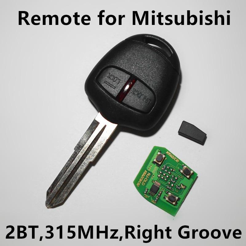 Prix pour À distance Clé 315 mhz avec Puce 2 boutons pour MITSUBISHI Pajero Outlander Lancer Shogun Grandis Montero Triton (lame droite rainure)