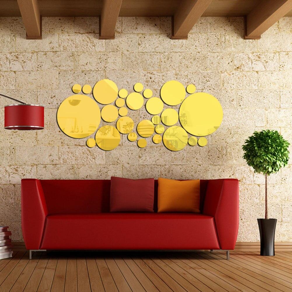 Wall Sticks for Home Decor 30Pcs DIY Silver Color Circle Mirror Wall ...