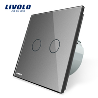 Livolo 2 Gang 1 Way Wall Touch Switch White Crystal Glass Switch Panel EU Standard VL