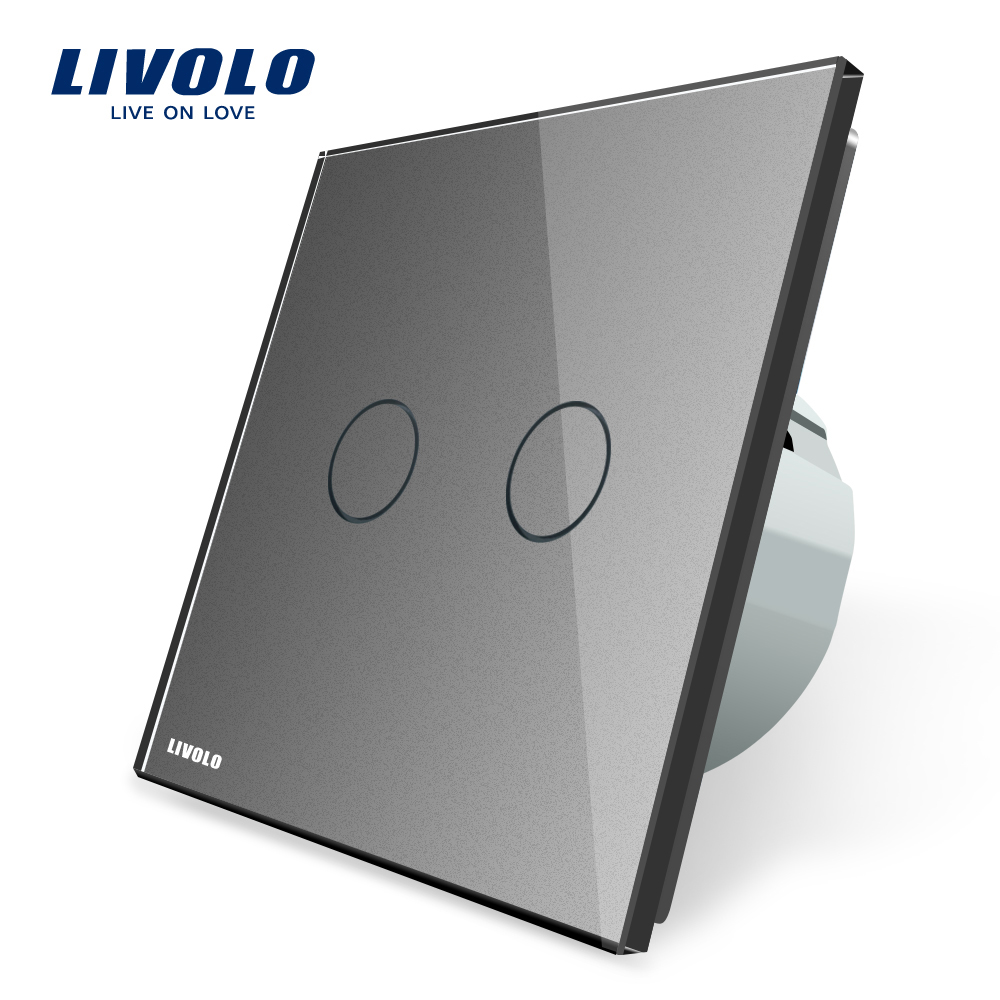 Livolo 2 Gang 1 Way Wall Touch Switch, White Crystal Glass Switch Panel, EU Standard,  220-250V VL-C702-1/2/3/5 free shipping smart home us au standard wall light touch switch ac220v ac110v 1gang 1way white crystal glass panel