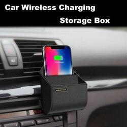 Qi carro carregador sem fio caixa de carregamento almofada suporte ar ventilação telefone rápido caixa armazenamento do carro carregador titular para iphone 8 x xr samsung s9