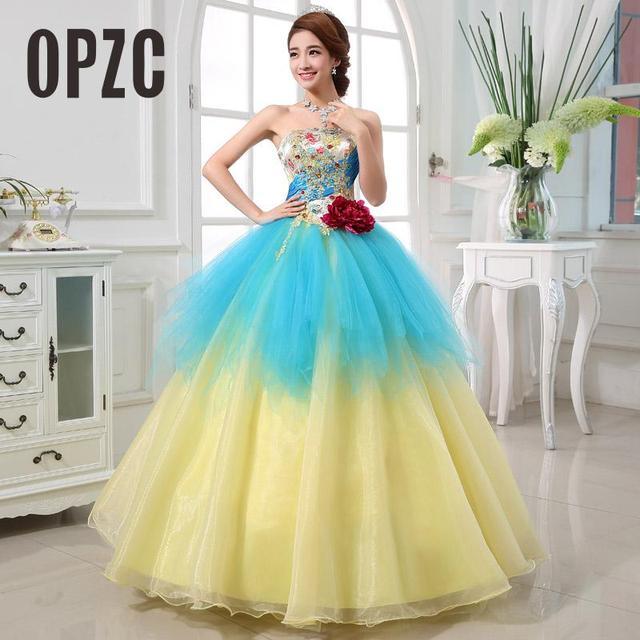 f78413a814 Colorido Organza vestido de boda 2017 Sin Tirantes de Color Nuevo Estilo  Coreano Amarillo azul Flor
