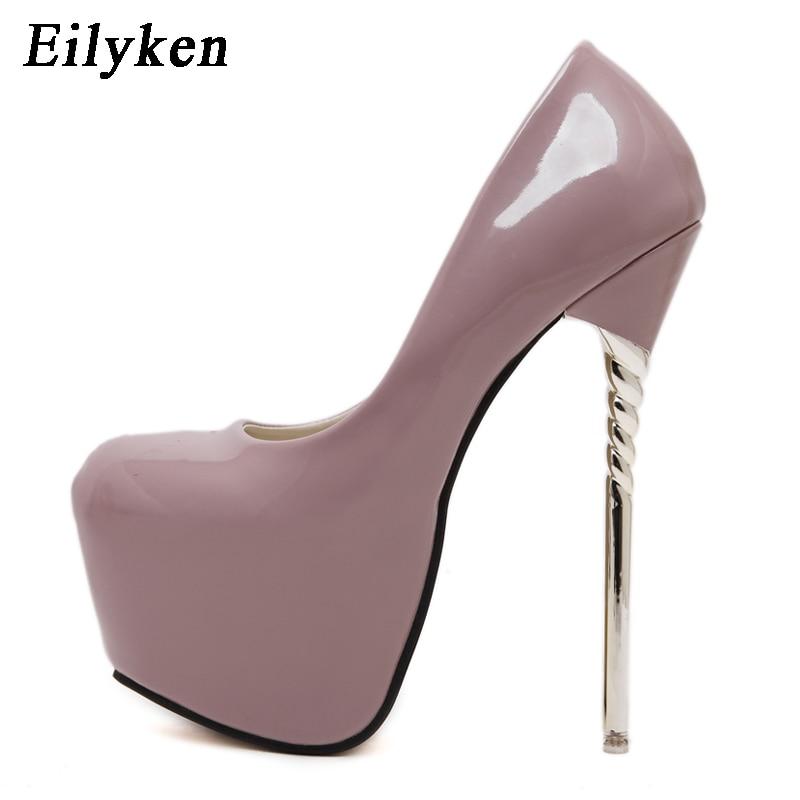 Eilyken 2019 New Sexy Women Pumps Wedding Women Fashion Patent Leather Shoes Latform Very High Heel Shoes For Women