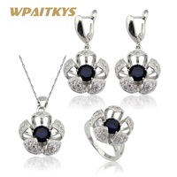 WPAITKYS Flower Blue Black Crystal White Stones Women Silver Color Bridal Jewelry Sets Necklace Pendant Earrings