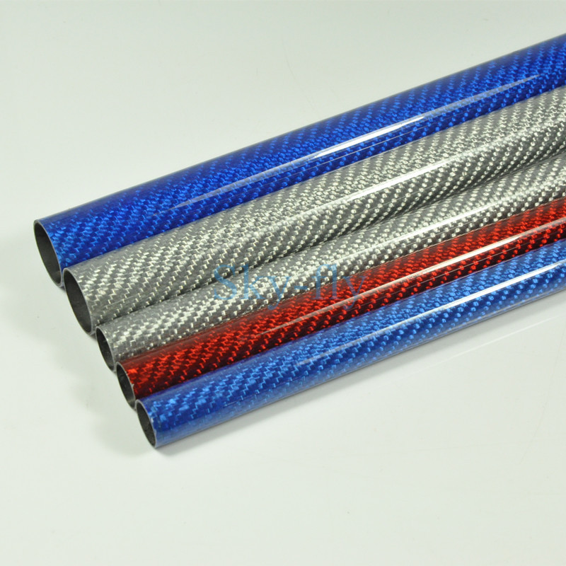 2pcs Color Carbon Fiber Tube 3K Glossy Surface OD 10mm 12mm 16mm 23mm 24mm Length 500mm Blue Red Silver Color 1pc silver 304 stainless steel capillary tube 12mm od 10mm id 250mm length mayitr
