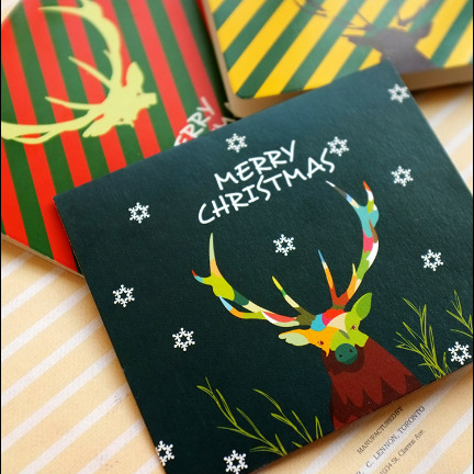6pcs/lot Christmas Antlers Greeting Card Postcard Birthday Letter Envelope Gift Card Set Message Card Xmas Gifts