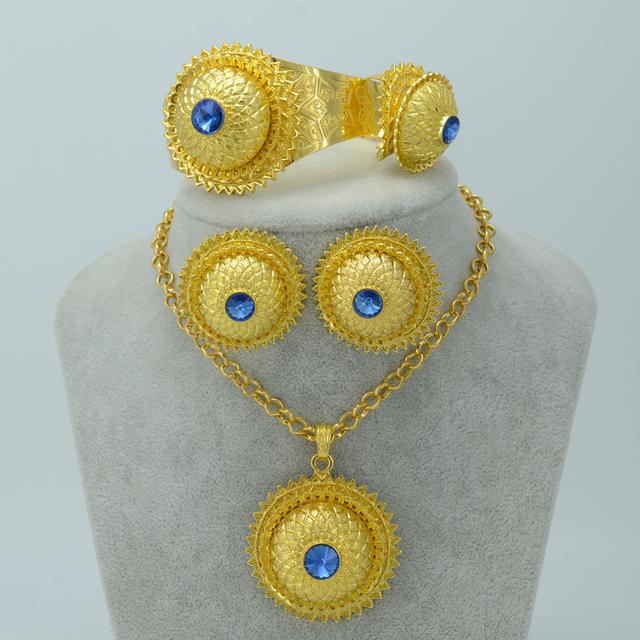 Etíope conjunto Chapado En Oro, W/Blue Stone Collar Pendientes Anillo Bangle Boda de Eritrea Etiopía Oro Habesha Joyería #001715