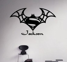 New arrival Custom Names Wall Decal Batman Superman Vinyl Sticker Personalized Decals Home Decor Removable Art