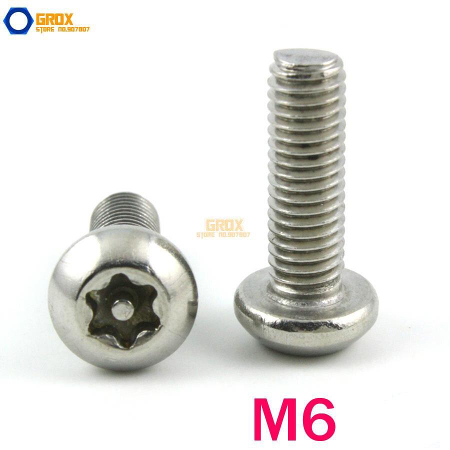 M6 304 Stainless Steel Security Torx Button Head Machine Screw 20pcs m3 6 m3 x 6mm aluminum anodized hex socket button head screw
