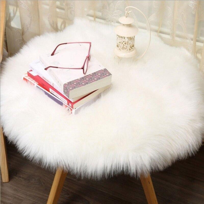 Artificial Sheepskin <font><b>Rug</b></font> Skins Carpet Soft Carpet Seat Pad Round Area <font><b>Rugs</b></font> Floor Mat 2 Colors Home Decorator Carpets