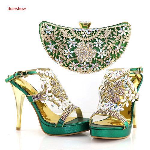 doershow Nigerian Shoes and Matching Bags African Shoes and Matching Bags Italian Women Wedding Shoes and Bag Set Green XG1-26 стоимость