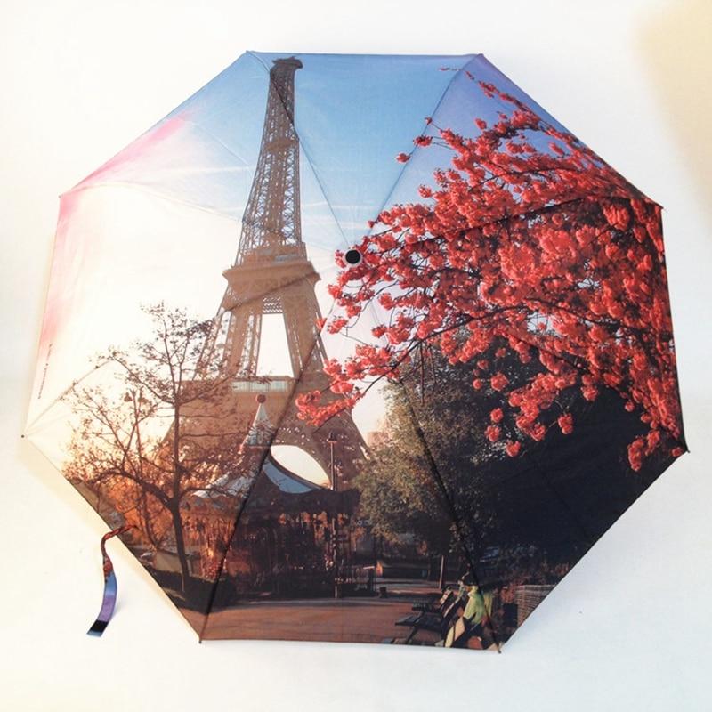 Париж башня/Виктория станции картина маслом Зонты Для женщин 3 Складные моды автоматический зонт Анти-УФ Защита от Солнца/дождя зонт зонтик