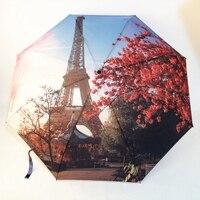 Paris Kulesi/Victoria Istasyonu Yağlıboya Şemsiye Kadın 3 Katlama Moda Otomatik Şemsiye Anti-Uv Güneş/Yağmur Şemsiye Şemsiye