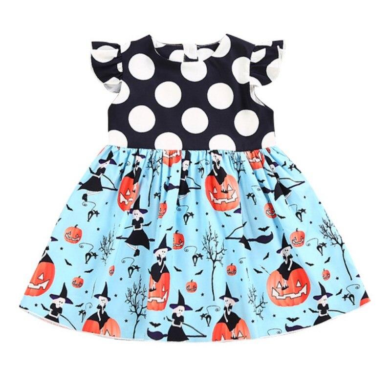 Fashion Cute Polka Dot Printed Baby Dress Cute Halloween Pumpkin Pattern Kids Girls Dress Toddler Girls Dresses