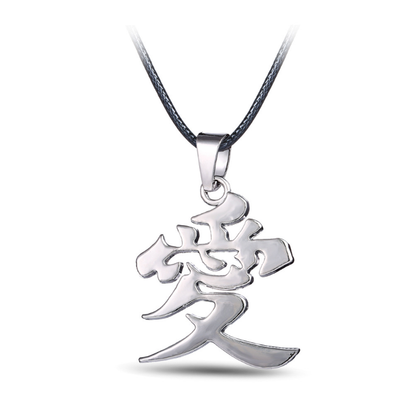 1 Pcs cool new Anime Naruto Gaara Gourd Love Logo Chinese Word AI LOVE Pendant Metal Necklace Fashion adornment gift toys