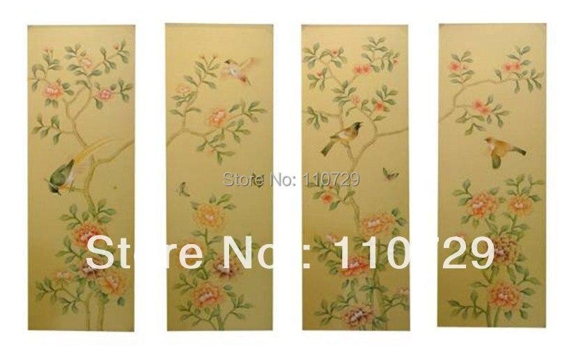 Украшение дома, ручная роспись, шелковая Живопись с птицами и цветами, много фотографий на выбор