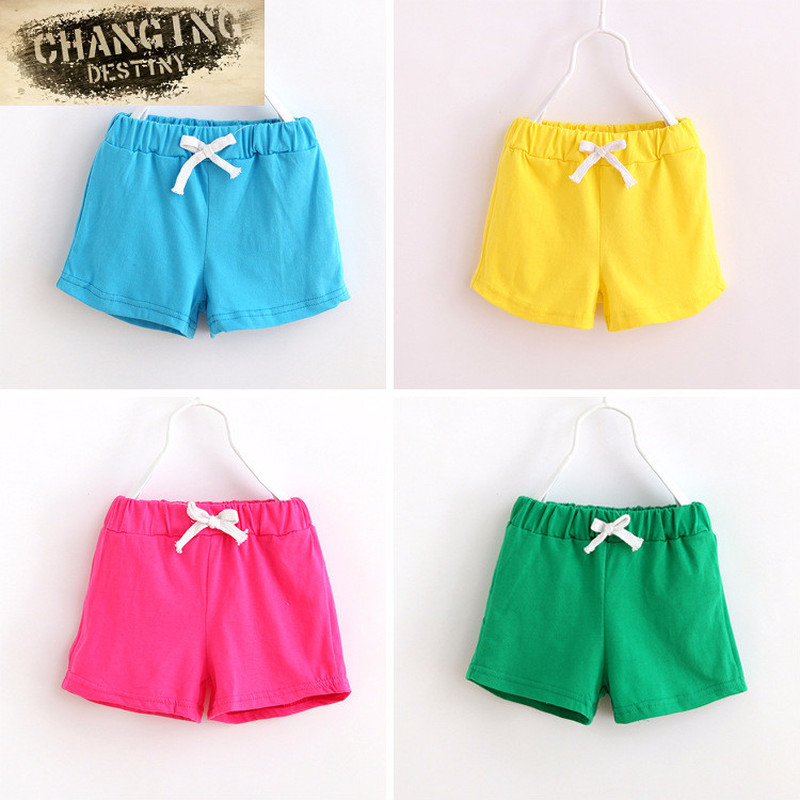 Children's Panties2018 Summer Wild Solid Color   Shorts   Boys and Girls Universal Beach Pants Baby Lace Leisure Trousers