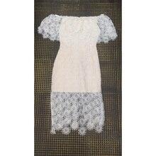Pink Slash Neck Bandage Short Sleeve Bodycon Lace Dresses