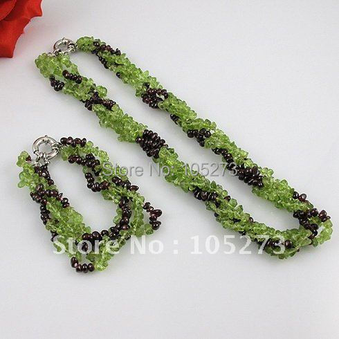 Wholesale Elegant jewelry 4-5mm red garnet green peridot necklace 3rown 18inch necklace bracelet jewelry  - A1646