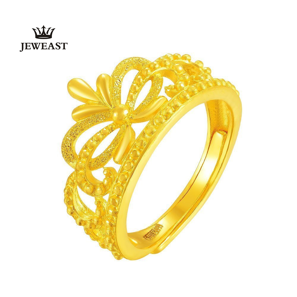 ZZZ 24k Gold Ring Pure Fine Jewelry Queen\'s Crown 999 Solid Grind ...