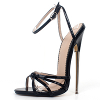 Fetish High Heels Sandals Women Fashion Ankle Strap Pointed Toe Shoes Metal Thin Heels Buckle Strap High Heeled Unisex Shoes