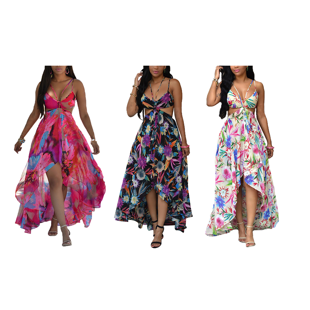 Halter Backless Maxi V Neck Cut Out Floral Romper Dresses Spaghetti Strap Print Beach Boho Evening Party Prom Cocktail