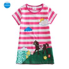 JUXINSU Summer Girls Short Sleeve Cotton Unicorn Dresses Embroidered Spring Kids Clothes for Girl Costumes 1-6 Years