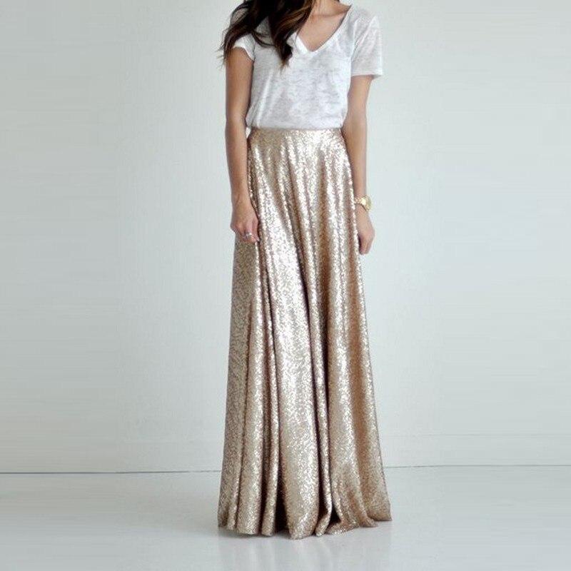 Champagne brillant paillettes longues jupes pour demoiselle d'honneur à mariage Zipper a-ligne élégante jupe femmes 2018 sur mesure Saia Faldas