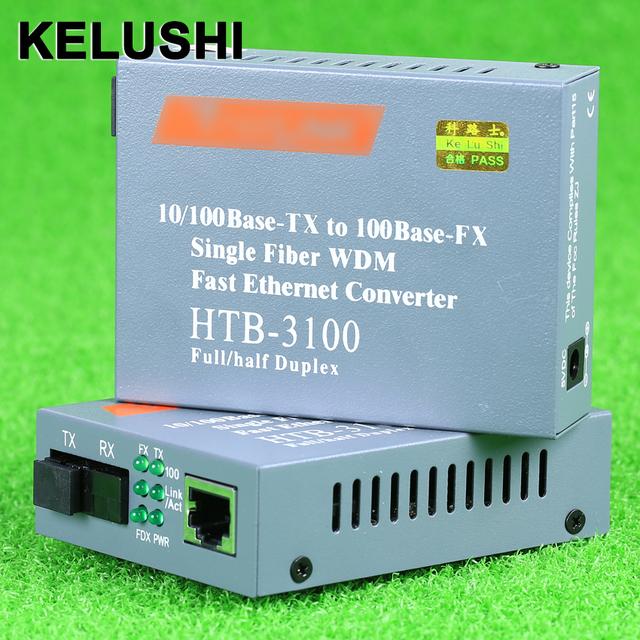 KELUSHI HTB-3100AB FTTH CATV 1550nm Transmisor Óptico 1310 Convertidor De Fibra Óptica Media Converter Único Modo de Transceptor