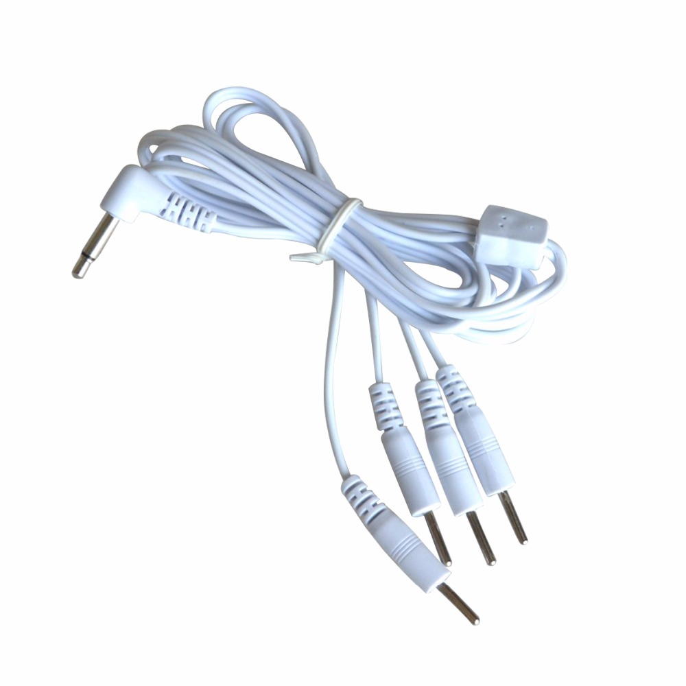 50 Pcs Pin 3 5mm 4 in 1 Head Electrode Cable Line Connector Wire For TENS