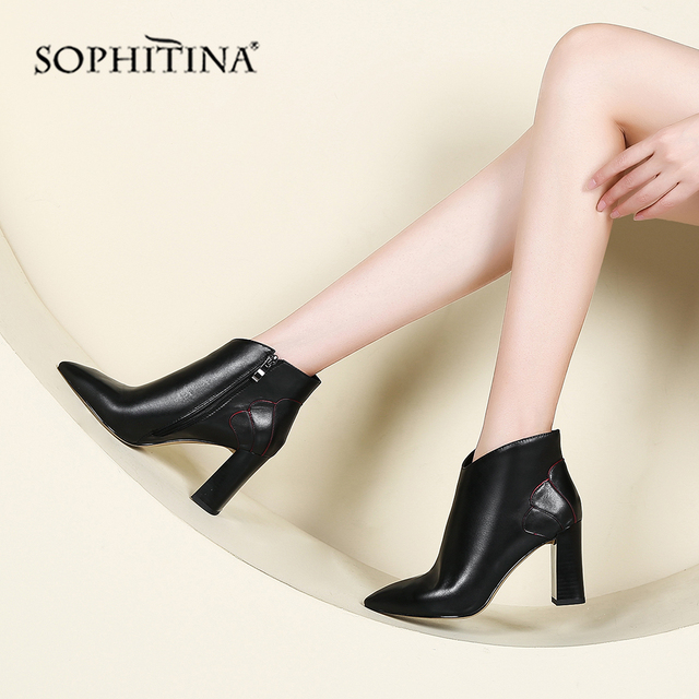 SOPHITINA New Ankle Woman Boots High Quality Genuine Leather Sexy Pointed Toe Comfortable Square Heel Shoes Elegant Boots PO216