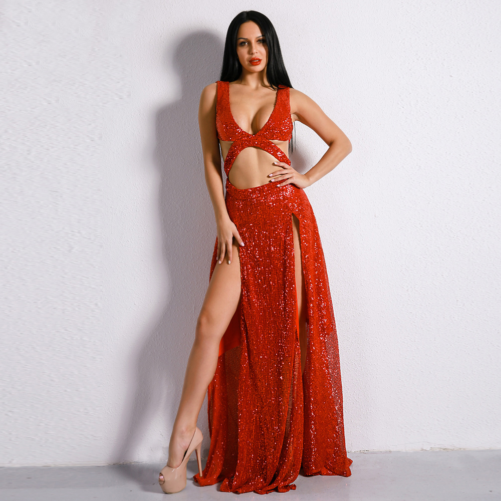 Summer Femmes Maxi Ft8399 Party Sexy Creux Missord Épaule Deux 2019 Sequin Off Out Split 1 Robe UzMqSpV