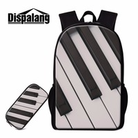 Dispalang piano pattern backpacks 2 pieces school office supplies bookbag+pen cases for girls women casual shoulders bag mochila