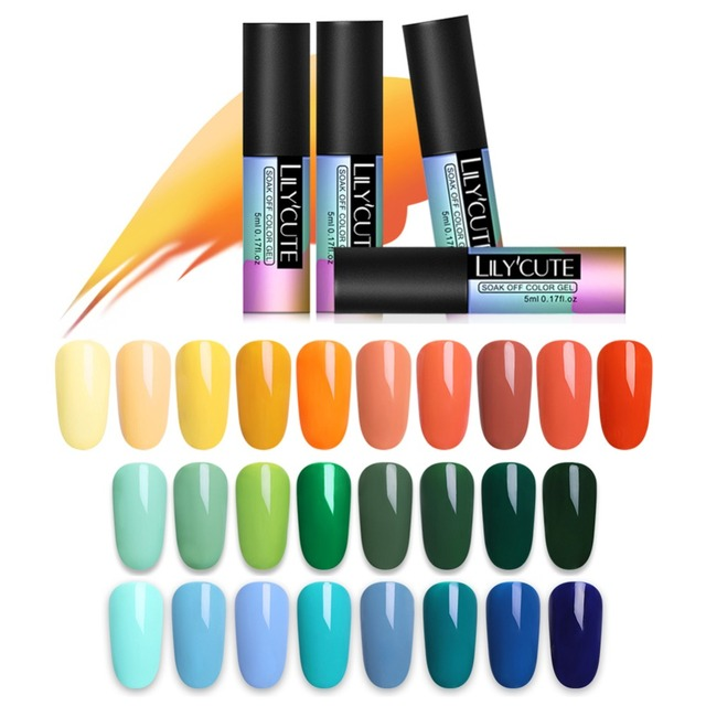 LILYCUTE 5mL Pure Gel Varnish Color Hybrid Gel Polish Manicure for Nails Design Shining Lucky Yellow Green Colors UV Nail Polish