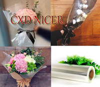 Flower Shop Gift Basket Packing Paper Roll Transparent Plastic Film Flowers Wrapping Paper Pure Cellophane Paper