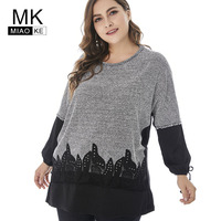 Miaoke 2018 Winter Womens Plus Size Knitted long sleeve t shirt High Quality Fashion Ladies Casual Stitching Oversized top