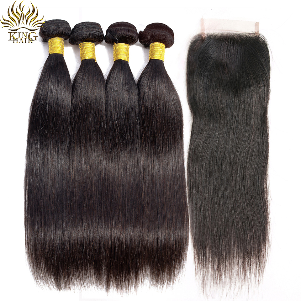 King Hair Peruvian Straight Hair 3 Bundles With Closure 100 Remy Human Hair Bundles With Closure