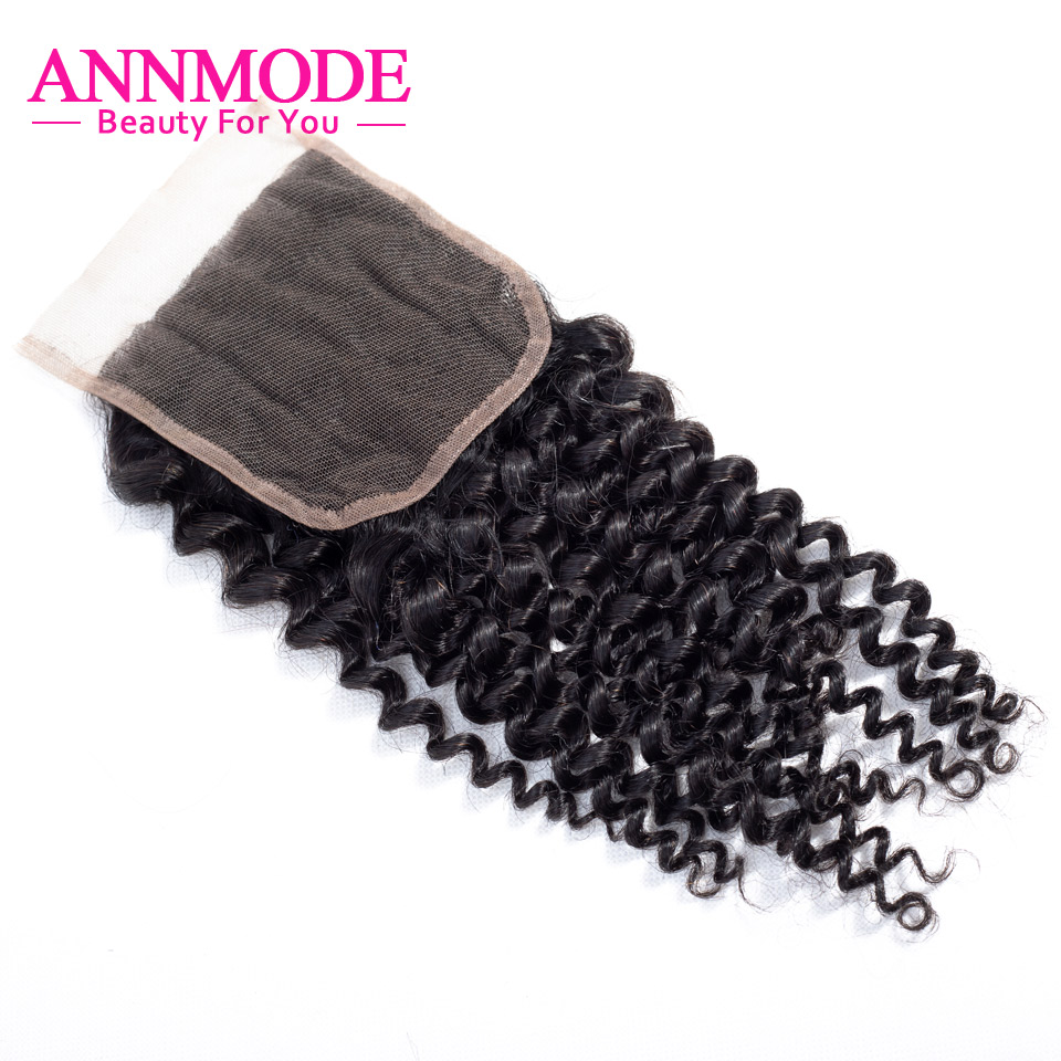 Annmode Hair Kinky Curly Closure 4x4 Free Part 100% Human Hair Closure 8-20 Inch Swiss Lace Closure Free Shipping Non Remy