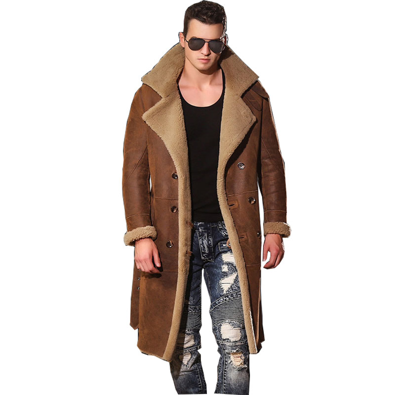 Male Leather Jacket Men's Long Leather Jackets Collars Man Natural Sheepskin Fur Coat To Keep Warm Free Shipping