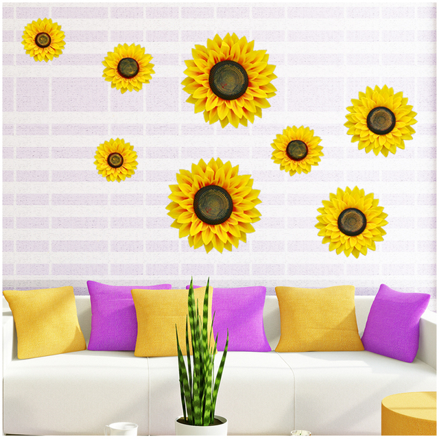 1set/4pcs 3D Artificial Sunflower Wall Sticker Bedroom Baby Room ...