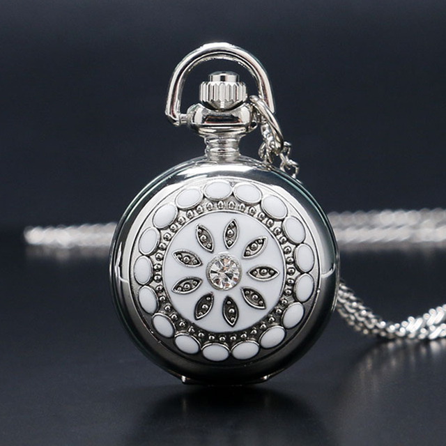 Fashion Silver White Ceramics Flower Crystal Small Size Quartz Pocket Watch Neck