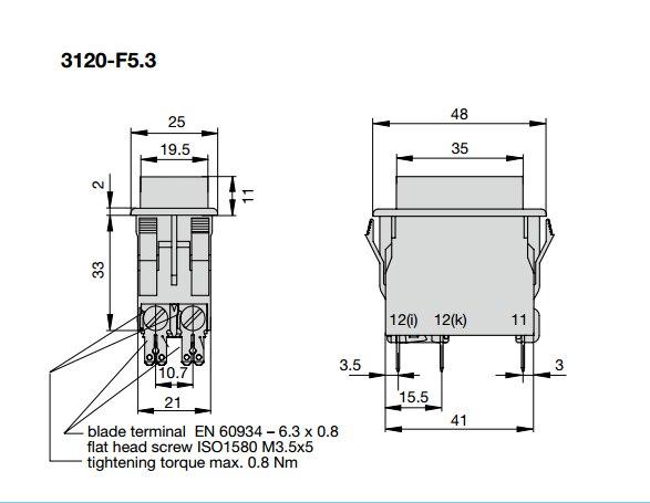 Originele nieuwe 100% 3120 F523 P7T1 W12XY4 8A hoge stroom tuimelschakelaar met LED 4pin 2 gear - 4