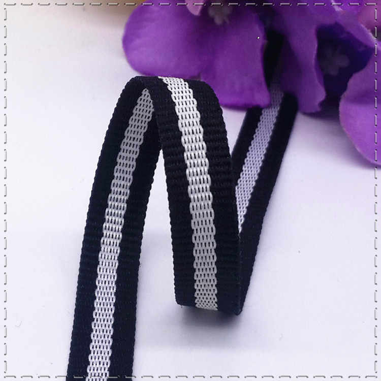 Hot sale 1CM SBlack  White Stripes Lace Sewing Dress Ribbon Belt DIY Hair Accessories Decoration Supplementary material 1 meter