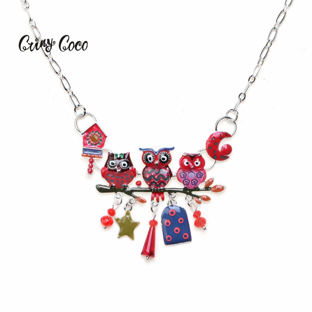 Mãe coruja e crianças pingente colares esmalte ramos animais pássaros lua pingentes liga gargantilha colar correntes jóias quente