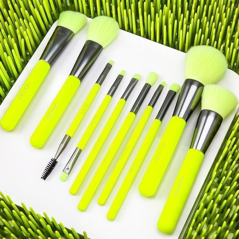 Docolor 10Pcs Professional Makeup Brushes Powder Foundation Eyeshadow Make Up Brushes Set Hair Synthetic Cosmetics Neon Brush
