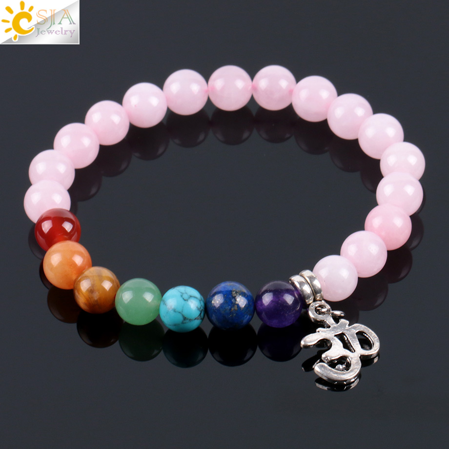 CSJA 7 Chakra Natural Stone Pink Crystal Quartz Bracelets Bangles for Women Healing Reiki OM 8mm Mala Bead Lucky Meditation E926