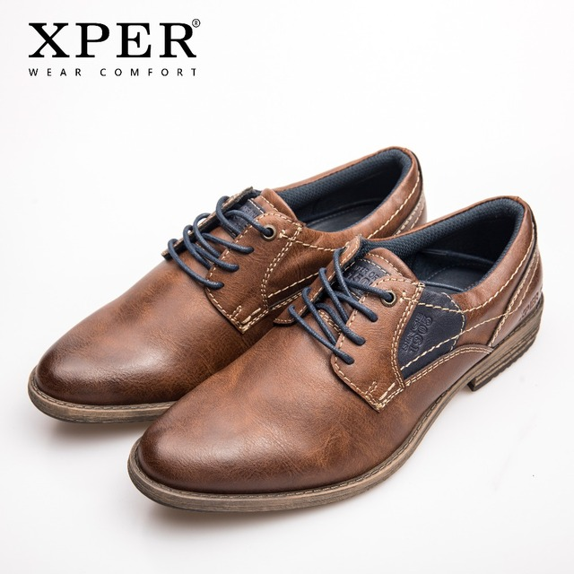 XPER Brand Big Size 40-48 Leather Casual Shoes Men Wear Comfort Footwear Lace-Up Brown Breathable Male Business Shoes XHY37116BR